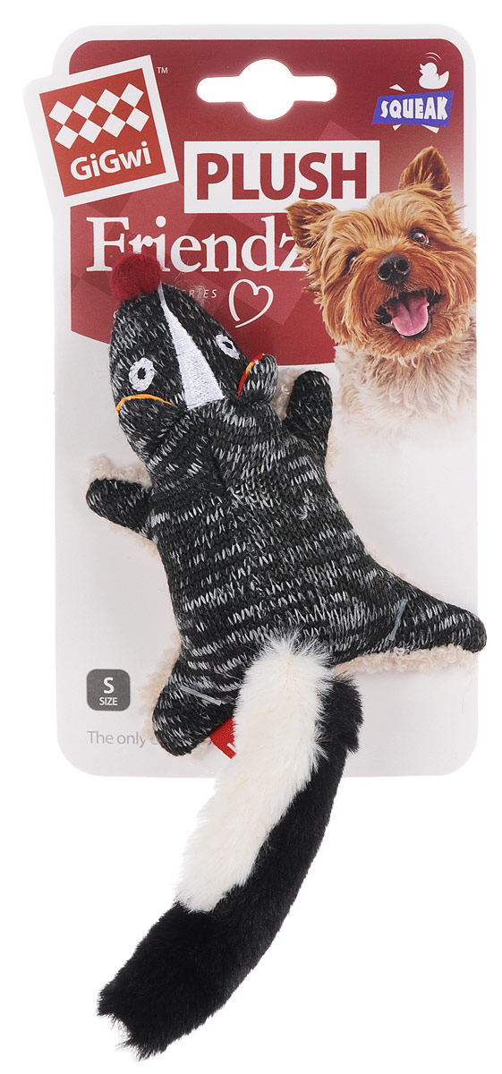 Игрушка для собак GiGwi Скунс, с пищалкой, длина 10,5 см игрушка для собак gigwi резиновая цепь длина 18 см