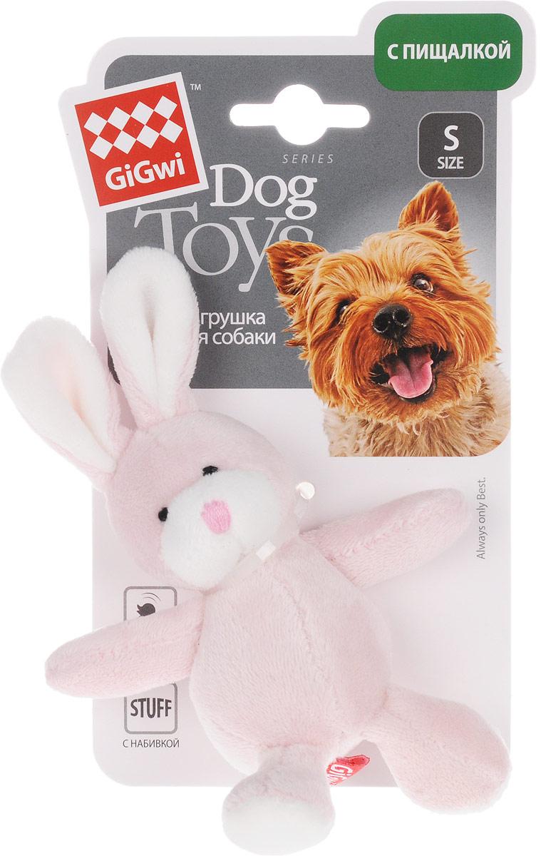 Игрушка для собак GiGwi Заяц, с пищалкой, длина 14,5 см игрушка для собак gigwi резиновая цепь длина 18 см
