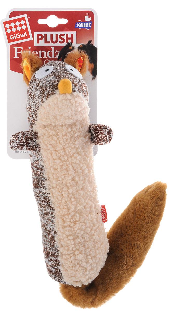 Игрушка для собак GiGwi Белка, с пищалкой, длина 25 см игрушка gigwi jumball big ball is a good ball мяч с захватом для собак 75367