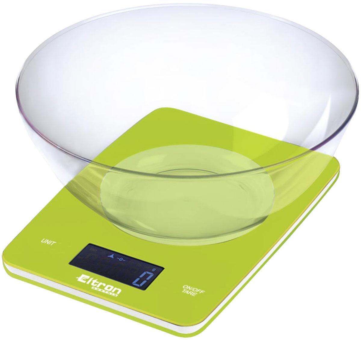 Весы кухонные Eltron, электронные, цвет: зеленый, до 5 кг. 9263EL9263ELЭлектронные кухонные весы. Современный дизайн. Двухкнопочный механизм. ЖК-дисплей. Съемная прозрачная чаша. Максимальный вес - 5 кг. Показывает вес в унциях, фунтах, гр, мл.1х 3В батарея входит в комплект.