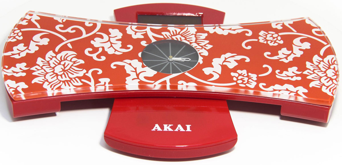 Весы напольные Akai, с часами, электронные, цвет: красный, до 180 кг. 1350/R весы akai весы напольные 2 в 1 весы с часами