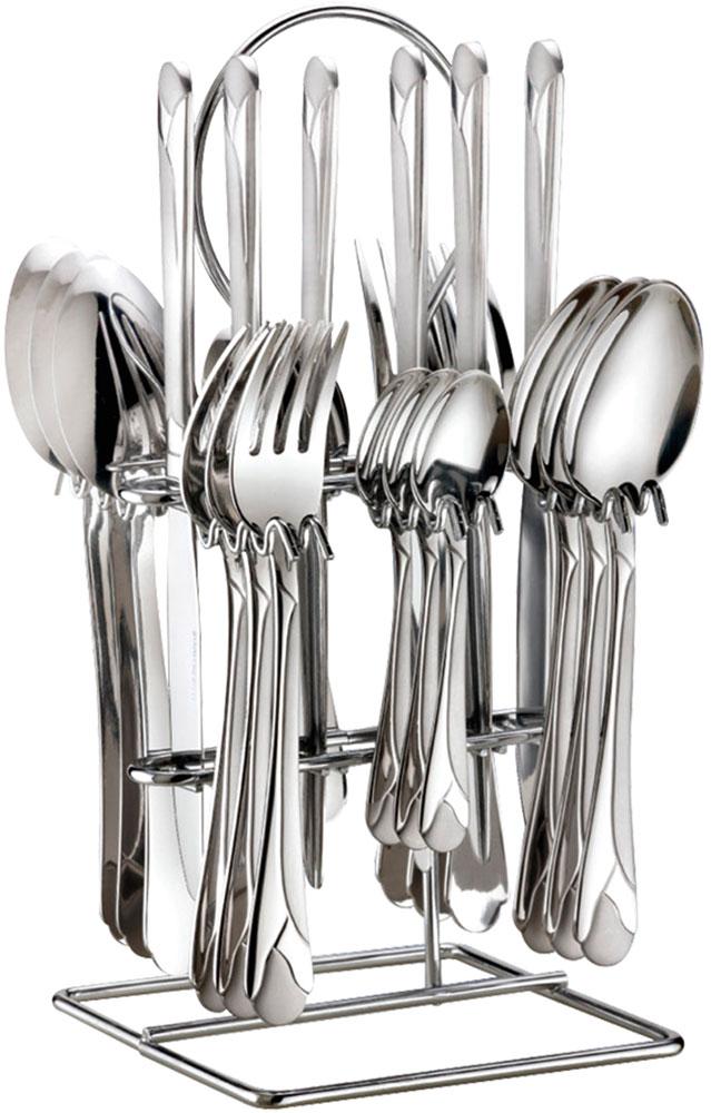 Набор столовых приборов Bohmann, на подставке, 25 предметов. 5625BH/NEW5625BH/NEWНабор столовых приборов Bohmann изготовлен из высококачественной нержавеющей стали с зеркальной полировкой. В набор входит 25 предметов: 6 столовых ножей, 6 суповых ложек, 6 столовых вилок, 6 чайных ложек и подставка. Лаконичный дизайн, качество исполнения и функциональность сделают этот набор незаменимым на любой кухне.Простой, но в то же время стильный дизайн приборов подчеркнет ваш безупречный вкус.Можно мыть в посудомоечной машине.Длина ножа: 23,5 см.Длина суповой ложки: 20,5 см.Длина вилки: 20,5 см.Длина чайной ложки: 15 см.Размер подставки: 13,5 х 13,5 х 25,5 см.