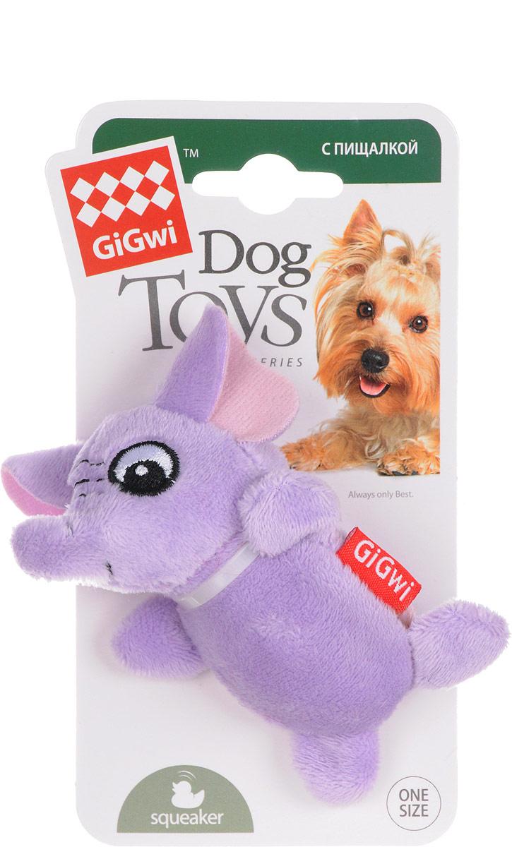 Игрушка для собак GiGwi Слон, с пищалками, длина 9 см игрушка gigwi jumball big ball is a good ball мяч с захватом для собак 75367