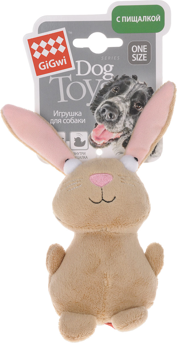 Игрушка для собак GiGwi Кролик, с пищалкой, длина 16 см игрушка gigwi jumball big ball is a good ball мяч с захватом для собак 75367