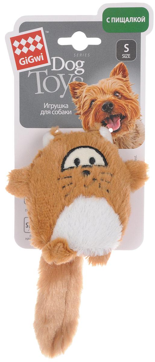 Игрушка для собак GiGwi Лиса, с пищалкой, длина 18 см игрушка для собак gigwi резиновая цепь длина 18 см