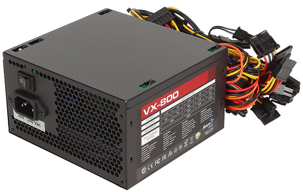 Aerocool VX-800W блок питания для компьютера4713105957235Aerocool VX-800W - это эффективный, надёжный и недорогой блок питания с низким уровнем шумов и помех.Блоки питания линейки VX - самые доступные в ассортименте Aerocool и предназначены для систем начального уровня. Они собраны из высококачественных компонентов и обеспечивают стабильное инадёжное питание для всего системного блока.Хотя устройства линейки VX предназначены для сборки систем начального уровня, Aerocool снабдила их всем необходимым. БП VX работает без шумов и помех, защищён от перепадов напряжения в сети и оборудован 12 сантиметровым вентилятором с умным управлением скоростью вращения.