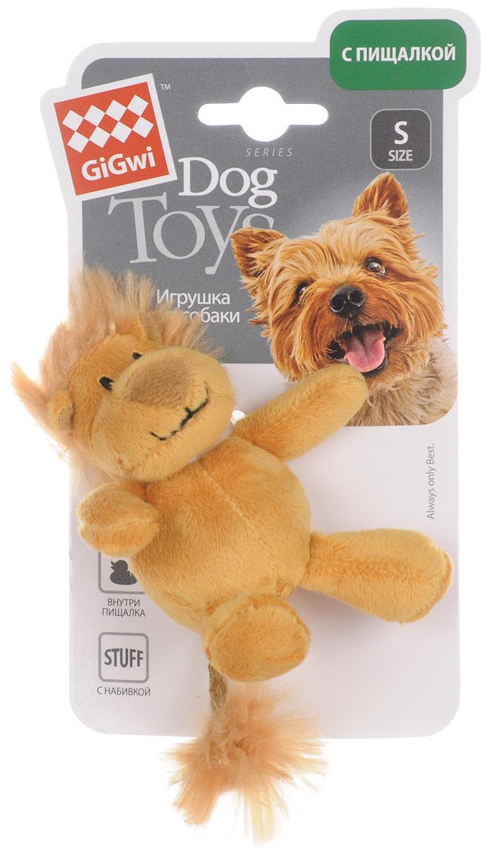 Игрушка для собак GiGwi Лев, с пищалкой, длина 10 см игрушка для собак gigwi резиновая цепь длина 18 см