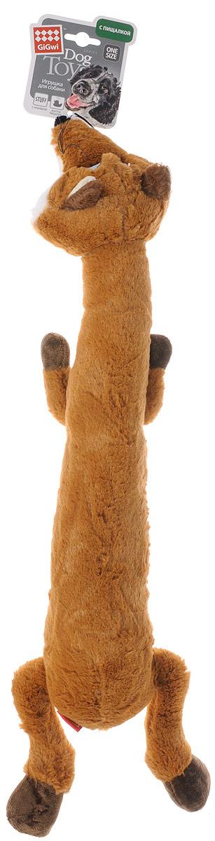 Игрушка для собак GiGwi Лиса, с пищалкой, цвет: оранжевый, длина 61 см дорого для gigwi почесть плюшевой playmate под названием jiaolv остаться мэн осел игрушка игрушка собаки игрушка животного резистентного укуса интерактивных игрушки тедди голден ретривер лабрадор