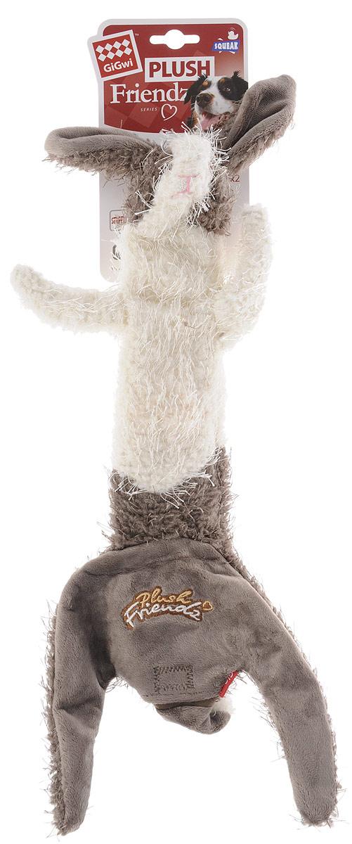 Игрушка для собак GiGwi Заяц, с пищалкой, цвет: серый, белый, длина 47 см дорого для gigwi почесть плюшевой playmate под названием jiaolv остаться мэн осел игрушка игрушка собаки игрушка животного резистентного укуса интерактивных игрушки тедди голден ретривер лабрадор