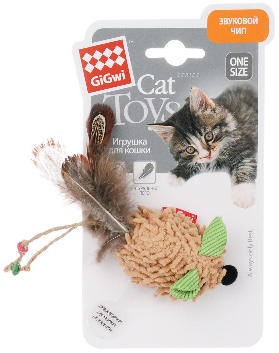 Игрушка для кошек GiGwi Мышка, с электронным чипом, длина 6 см. 7503075030Игрушка для кошек GiGwi Мышка выполнена из ворсистого текстиля, декорирована натуральным пером и дополнена звуковым чипом. Игрушка создает реалистичный звук при касании игрушки лапками, способствует развитию охотничьего инстинкта вашего питомца.