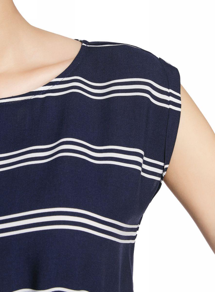 Платье oodji Ultra, цвет:  белый, темно-синий, полоски.  11910073-4B/26346/1279S.  Размер 38-164 (44-164) oodji