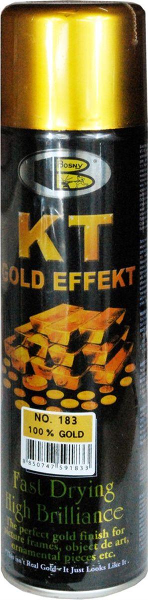 Аэрозольная краска Bosny 18 Карат, цвет: 183 золото металлик, 300 мл183Золотая краска (аэрозольная) со специальным золотым пигментом повышенной яркости и стойкости. Специальный пигмент, в составе позволяет любым поверхностям, покрытым краской – деревянным, пластиковым или металлическим, приобретать ярко-выраженный эффект настоящего золота или меди. Цвета Медный, Золото, Золотая ветвь и Золотая искра рекомендованы к использованию при производстве наружных работ. Они очень стойкие к атмосферным явлениям – дождю, снегу, морозу или солнцепеку. Не истираются и имеют достаточно продолжительный срок службы. Золотая краска этой марки является прекрасным средством для декорирования деревянных, металлических, гипсовых или пластиковых поверхностей внутри квартиры, имеют слабовыраженный запах и прекрасные художественно-эстетические свойства. Она распределяется очень ровным слоем, быстро сохнет и имеет очень красивый оттенок. Аэрозольной краской Золото № 181 и 182 можно покрывать рамы картин, ножки кресел и стульев, придавая им цвет античного золота, декорировать всевозможные подставки, вазы и основы для ручного творчества, или красить деревянные, керамические или гипсовые изделия, результат индивидуального творчества. Также они подходят для реставрации поверхностей, давно утратившей внешний вид. Срок годности 5 лет