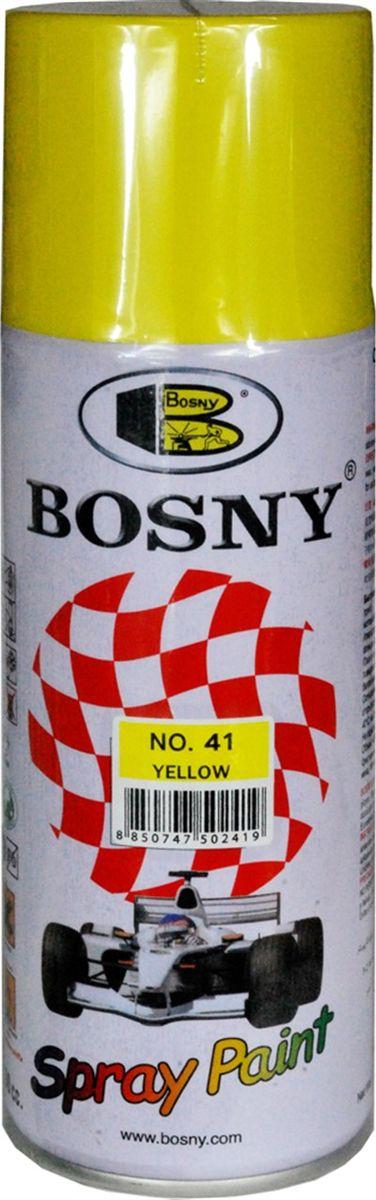 Краска акриловая Bosny, аэрозоль, цвет: желтый (RAL 1018), 400 мл41Акриловая краска Bosny, изготовленная на основе эпоксидных смол, предназначена для высококачественного окрашивания поверхностей, сделанных из дерева, металла и пластика. Идеальна для окрашивания автомобилей, мотоциклов, различного оборудования, приборов и мебели. Такая краска не желтеет и не выцветает, то есть является атмосферостойкой.Краска может использоваться для декорирования различных деталей интерьера и разных поверхностей не только в быту, но и в офисе или магазине.