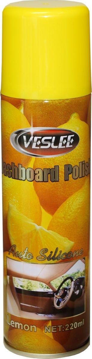 Очиститель-полироль Veslee Лимон, с силиконом, аэрозоль, 220 млVL-17DОчиститель-полироль Veslee Лимон применяется для ухода за приборной панелью, а также различными пластиковыми, резиновыми и виниловыми элементами салона автомобиль. Удаляет пыль и грязь, пятна и отпечатки пальцев. Образует на поверхности пленку с пылеотталкивающими свойствами, придает поверхности блеск.Защищает от негативного воздействия ультрафиолета и предотвращает появление микротрещин.Обладает свежим ароматом, нейтрализующим неприятные запахи.