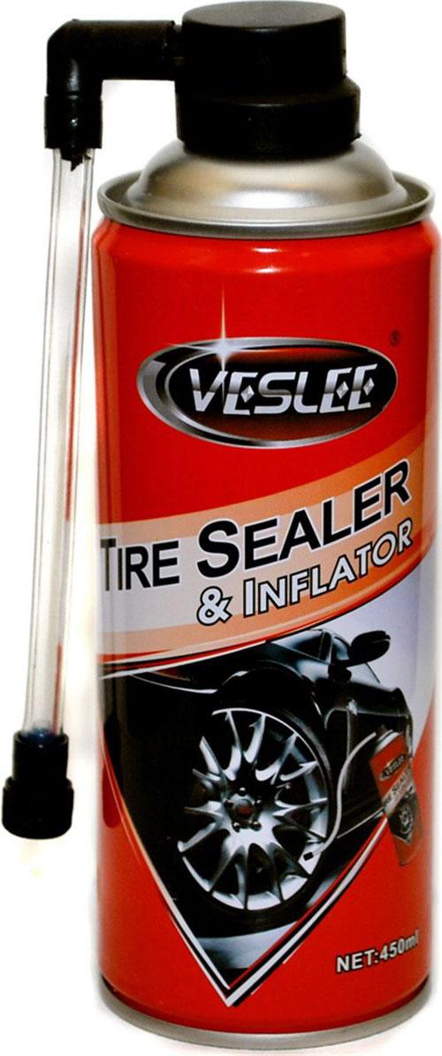 Средство для аварийного ремонта и накачки шин Veslee, аэрозоль, 450 млVL-45Средство Veslee предназначено для быстрого ремонта и накачки шин без снятия колеса и без инструментов.Надежно заделывает место утечки воздуха при диаметре прокола до 5 миллиметров.Предназначено для любых автомобилей, вело и мото-покрышек с камерой и без.Безвредно для камер, шин и дисков (маx R15).