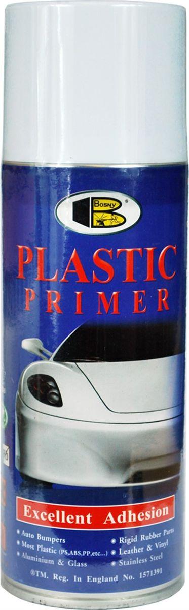 Грунт для пластика Bosny, аэрозоль, цвет: прозрачный, 400 млPPБыстросохнущий грунт Bosny изготовлен на основе модифицированного алкида, созданный специально для того, чтобы обеспечить хорошее прилипание краски к пластмассовым изделиям, таким как авто бамперы, спойлеры, твердые резиновые детали, пластмассовые приборы и различные пластмассовые детали. Его особенностью является очень низкий расход. Такой однокомпонентный грунт справляется не только с пластиком. Он действует при нанесении его даже на самые сложные материалы для окрашиваний, включая алюминий, ПВХ, стеклопластик, поливинил, различные виды пластика - включая СТР, ABS, PS, PE, а также изделия из кожи. После нанесения грунтовки на все другие виды материалов, поверхность можно окрашивать алкидными и акриловыми красками.