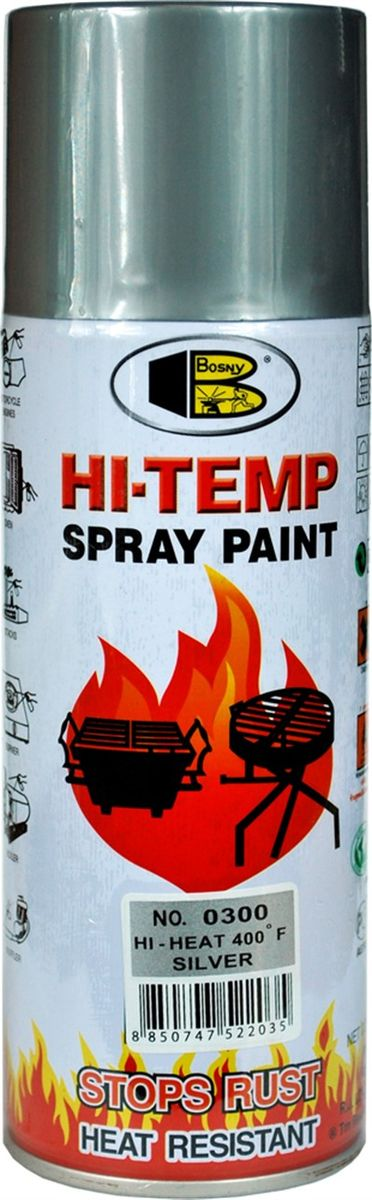 Краска термостойкая Bosny, аэрозоль, нагрев до + 250°C, цвет: серебряный, 400 млO300Термостойкая краска Bosny изготовлена на основе модифицированных алкидных смол с добавлением специального компонента - стирола, что обеспечивает очень хорошую стойкость при контакте со стальными поверхностями.Краска жаростойкая, выдерживает нагрев до + 250°C, предотвращает окисление и коррозию. Также она отличается хорошей стойкостью к различным неблагоприятным воздействиям: не выцветает, не трескается и не желтеет. Барьером для влаги служат компоненты в ее составе, которые состоят из микрочастиц закаленного стекла. Кроме того, в краске Bosny не содержится свинец и ртуть, а быстросохнущие компоненты, входящие в ее состав, позволяют выполнять работу в самые короткие сроки. Уменьшению времени работы с краской способствует то, что поверхность перед окрашиванием не нуждается в грунтовке. Ее нужно лишь зачистить механическим путем и прогреть. Краску можно наносить и на ржавые поверхности, если нет возможности их замены. Область применения такой краски очень широка. Она подходит для окраски двигателей и выхлопных труб, радиаторов и глушителей, печей и духовок, котлов и грилей, труб теплосетей и каминов, а также другого высокотемпературного оборудования. Также краска применяется для окрашивания поверхностей из самых разнообразных материалов: пластика, стекла, пластмассы, керамики, металла, дерева, а также ткани.