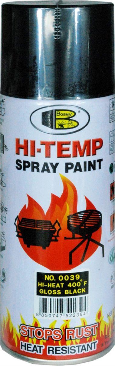 Аэрозольная краска Bosny, до 205°С, цвет: 0039 черный глянцевый, 400 млOO39Термостойкая краска производится из специальной смолы. Термостойкая краска выдерживает нагрев до 205 С. Не расслаивается и не отстает при воздействии высокой температуры. Для любителей делать ремонт быстро и оперативно термостойкая краска станет настоящей палочкой - выручалочкой, так как она содержит в своем составе быстросохнущие компоненты, которые позволяют выполнять все работы по покраске в кратчайшие сроки. В качестве защитного механизма у термостойкой краски включены в состав компоненты из микрочастиц закаленного стекла, которые позволяют обеспечивать необходимый барьер для влаги. Краска станет идеальным средством для работы на площадях, где есть резкий контраст температур. Она будет идеальна для покраски труб тепловых сетей, а также для использования на заводах и котельных, где оборудование и технические коммуникации испытывают большое температурное воздействие. Примечательно и то, что она может быть нанесена даже на ржавую поверхность, если есть необходимость сохранить участок этого материала, а средств на его замену нет. Она позволит усилить термо - защитные свойства любых материалов и повысить их сопротивляемость высокотемпературному воздействию. Срок годности — 5 лет.