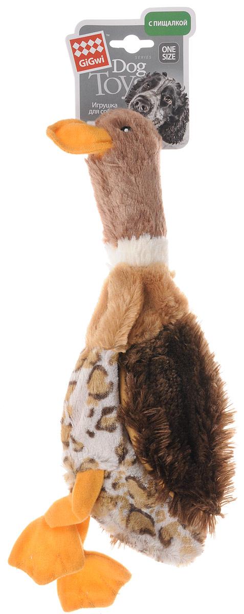 Игрушка для собак GiGwi Утка, с пищалкой, длина 35 см игрушка для собак gigwi резиновая цепь длина 18 см