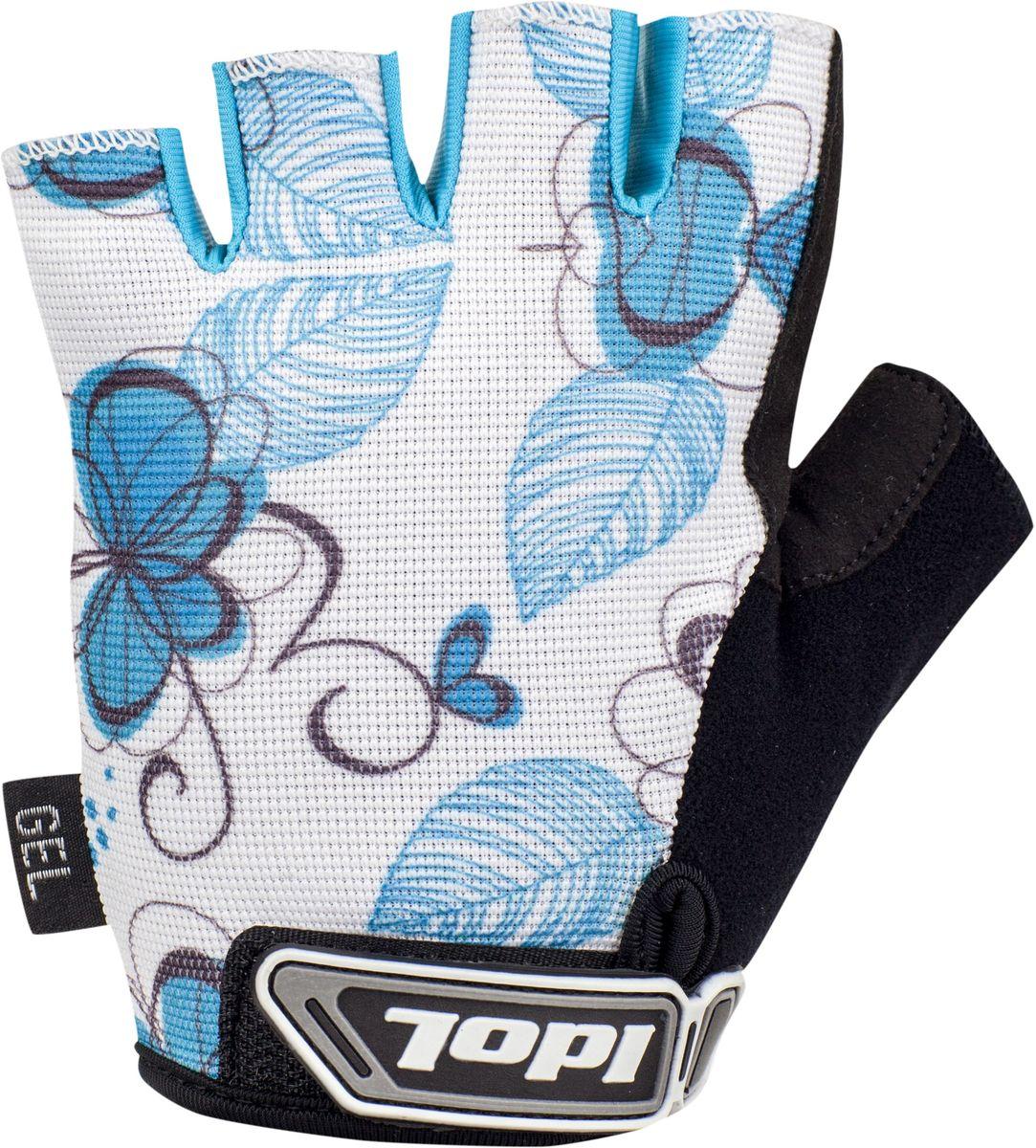 Перчатки велосипедные женские Idol Isel, цвет: белый, голубой. Размер M2716Велосипедные перчатки с открытыми пальцами Idol ISEL предназначены для велоспорта, велотуризма, велосипедных прогулок. Верх выполнен из высококачественного эластичного материала 4-way stretch, который отличается повышенной воздухопроницаемостью. Ладонь изготовлена из синтетической кожи Amara и дополнена гелевой вставкой для большего комфорта. Большой палец перчатки отделан влагоотводящим материалом. На запястьях перчатки фиксируются прочными липучками. Для удобства снятия каждая перчатка оснащена двумя небольшими петельками.Высокое качество, технически совершенные материалы, оригинальный стильный дизайн, функциональность и долговечность выделяют велоперчатки Idol среди прочих.