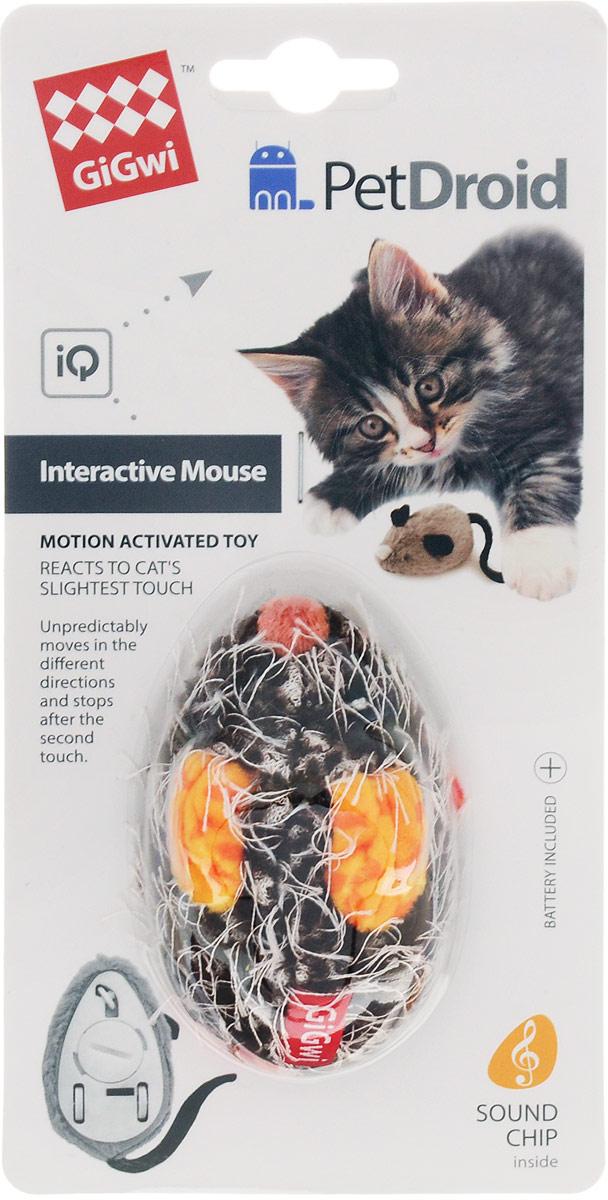 Игрушка для кошек GiGwi Интерактивная мышка, с электронным чипом, длина 9 см. 75359 игрушка gigwi petdroid interactive mouse sound chip inside интерактивная мышка для кошек 75359