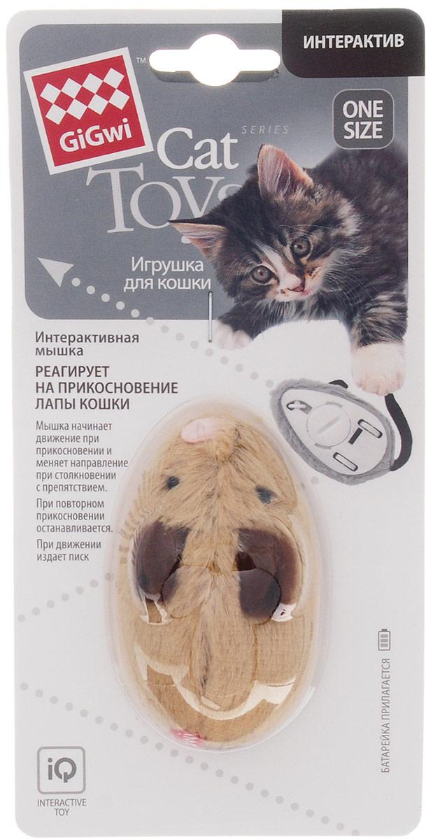 Игрушка для кошек GiGwi Интерактивная мышка, длина 8,5 см электронная игрушка для кошек gigwi pet droid фезер воблер