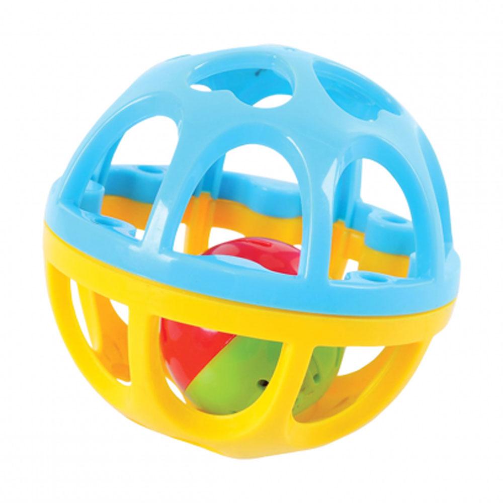 Playgo Развивающая игрушка Мяч-погремушка цвет бирюзовый желтый playgo