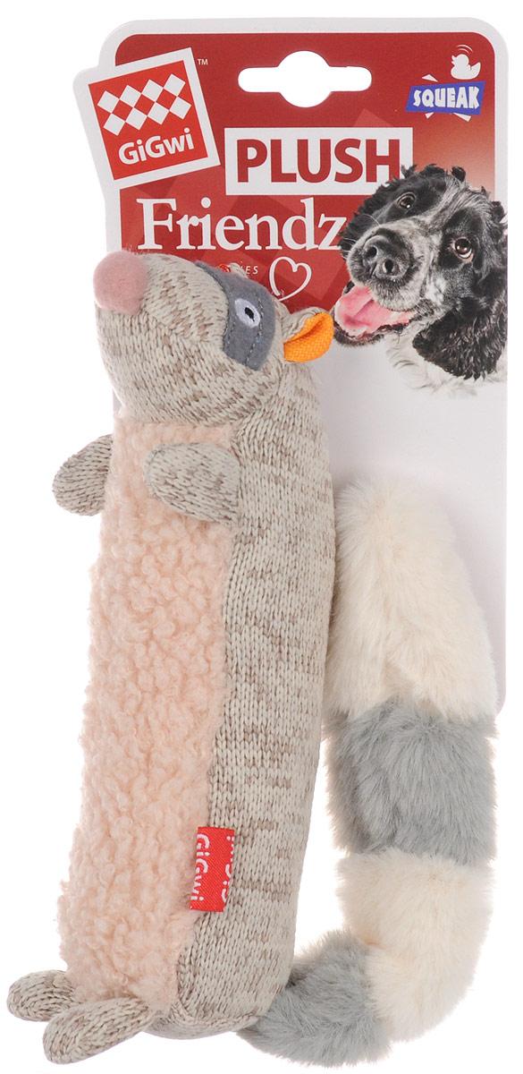 Игрушка для собак GiGwi Енот, с пищалкой, длина 17 см игрушка для собак gigwi резиновая цепь длина 18 см