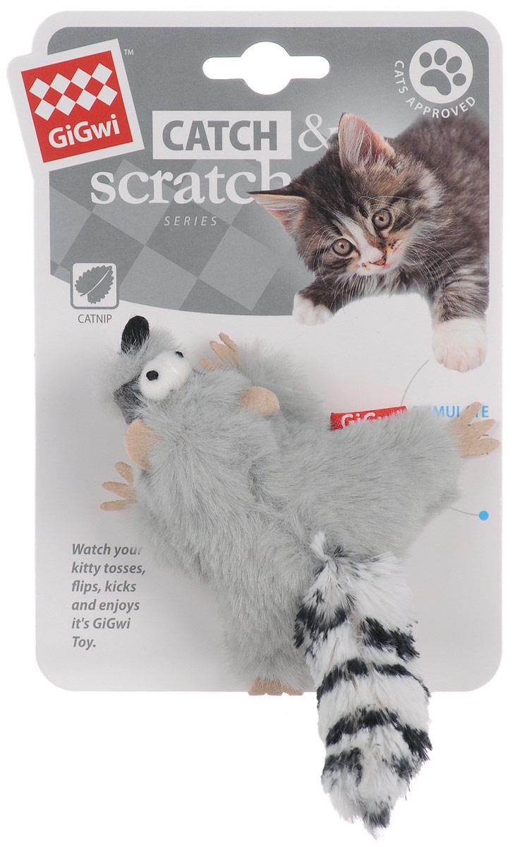 Игрушка для кошек GiGwi Енот, с кошачей мятой, длина 8 см электронная игрушка для кошек gigwi pet droid фезер воблер