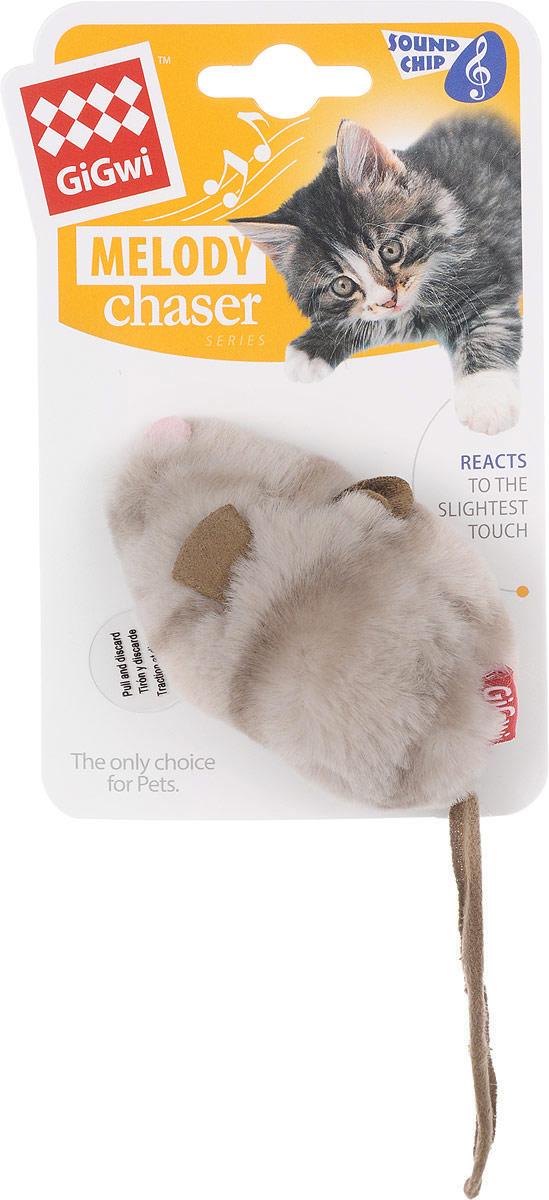 Игрушка для кошек GiGwi Мышка, с электронным чипом, длина 9 см. 75377 игрушка gigwi petdroid interactive mouse sound chip inside интерактивная мышка для кошек 75359