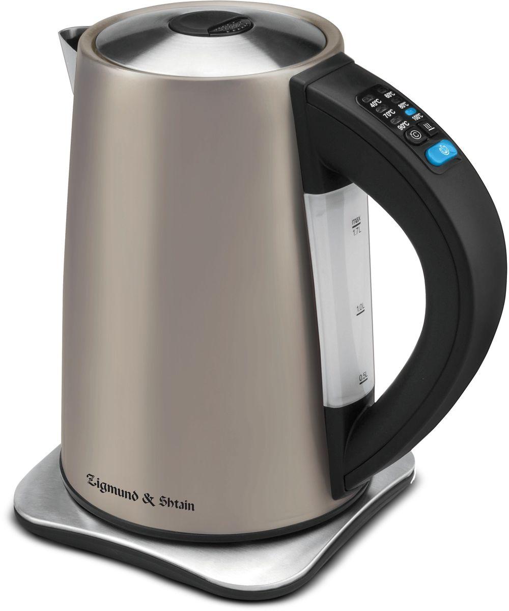 Zigmund & Shtain KE-81 SD электрический чайникKE-81 SDЭлектрический чайник Zigmund & Shtain KE-81 SD выполнен из высококачественной нержавеющей стали S/S 304 с высокими антикоррозийными свойствами. Электрический чайник имеет центральный контакт Otter (Великобритания) - гарантия качества и долгого срока службы изделия. Отключение происходит при снятии чайника с базы и при недостаточном количестве воды. Скрытый нагревательный элемент из нержавеющей стали обеспечивает быстрое закипание и долговечность. Чайник имеет панель управления сосветодиодными индикаторами, а также 6 режимов автоподогрева и поддержания температуры воды: 40°С/60°С/70°С/80°С/90°С/100°С. Энергонезависимая память: сохранение текущих установок при перебоях в электросети в течение 7 мин. Функция запоминания последних установок. Подставка под чайник дает возможность поворота на 360 градусов.