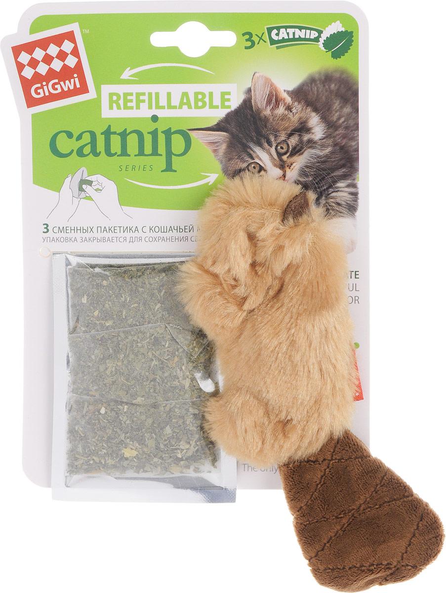 Игрушка для кошек GiGwi Бобер, с кошачьей мятой, длина 16 см электронная игрушка для кошек gigwi pet droid фезер воблер