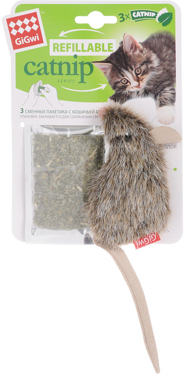 Игрушка для кошек GiGwi Мышка, с кошачьей мятой, длина 10 см игрушка gigwi petdroid interactive mouse sound chip inside интерактивная мышка для кошек 75359