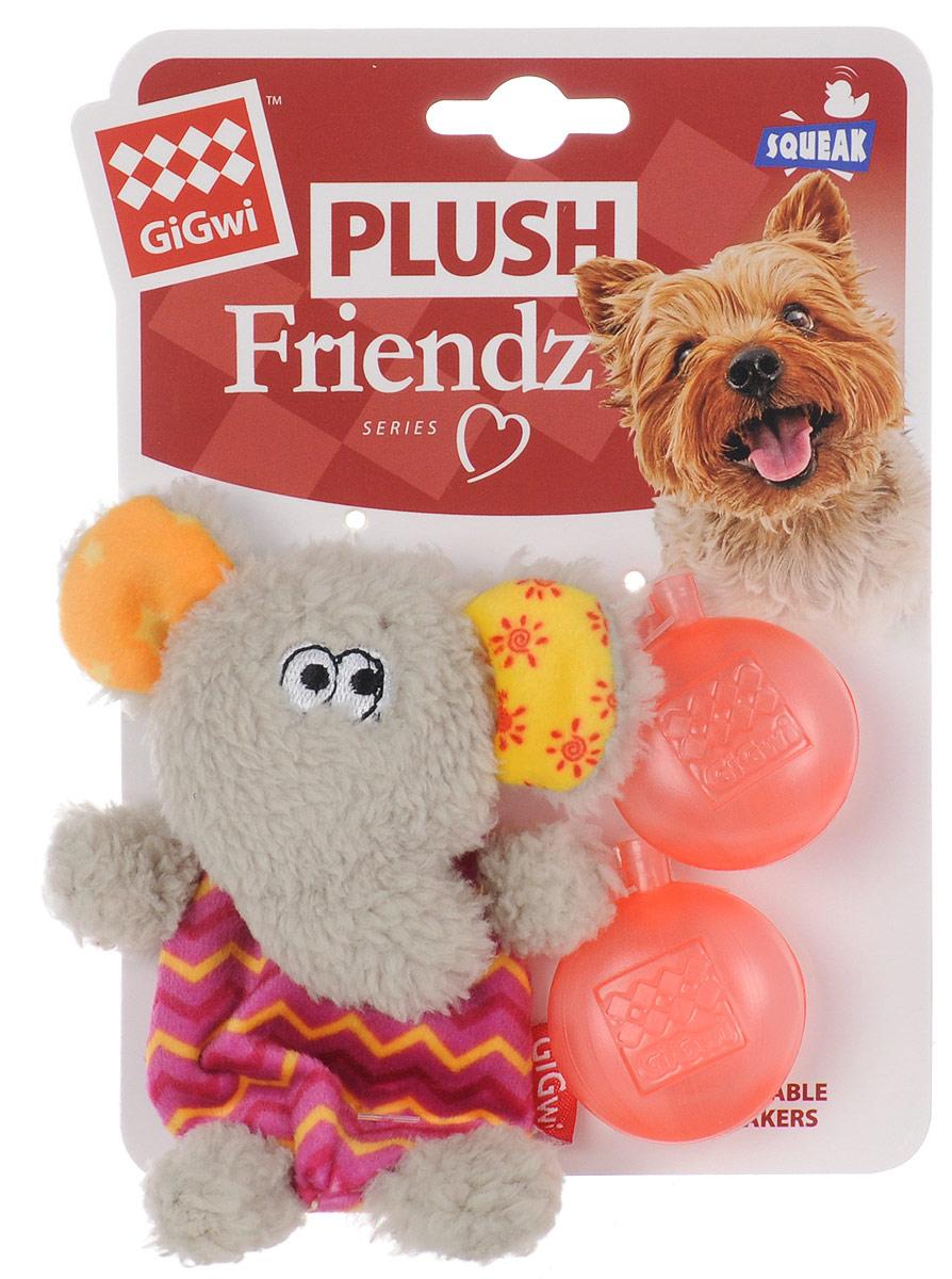 Игрушка для собак GiGwi Слон, с пищалкой, высота 13 см игрушка gigwi jumball big ball is a good ball мяч с захватом для собак 75367