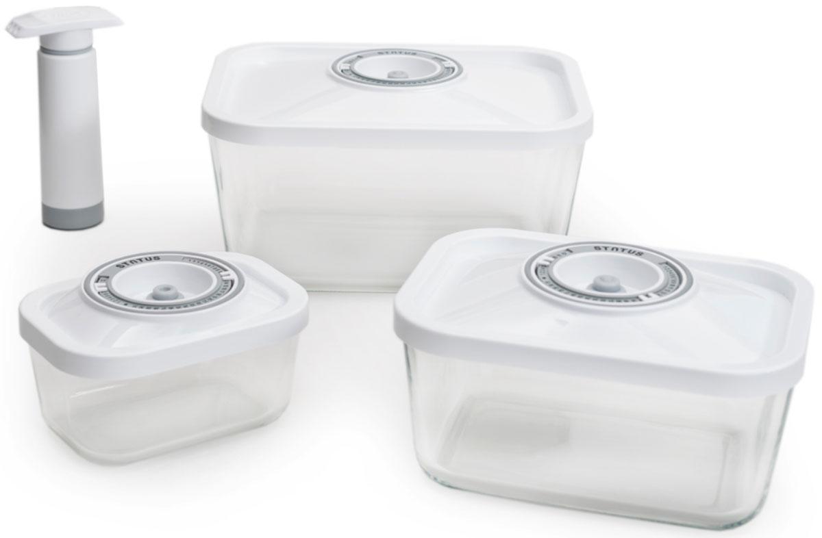 Status VAC-Glass-Set, White набор контейнеров для вакуумного упаковщикаVAC-Glass-Set WhiteБлагодаря использованию вакуумных контейнеров, продукты не подвергаются внешнему воздействию и срок хранения значительно увеличивается. Продукты сохраняют свои вкусовые качества и аромат, а запахи в холодильнике не перемешиваются.Высококачественное боросиликатное стекло подходит для использования как в духовке (без крышки), так и в морозильной камере, и выдерживает температуру от –20° С до 300° С Контейнеры также подходят для использования в микроволновой печи (без крышки), их можно мыть в посудомоечной машине.Контейнеры для хранения продуктов в вакуумеМатериал контейнера: стекло высокого качестваМатериал крышки: пластикПрямоугольная форма контейнеровЗанимают мало места при храненииИндикатор даты (месяц, число)