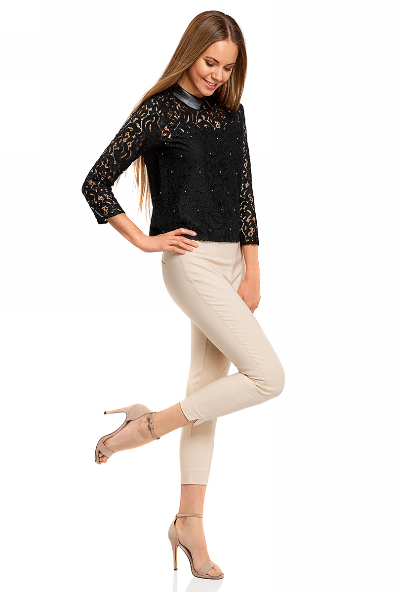 Блузка женская oodji Collection, цвет: черный. 21411092/43582/2900N. Размер 44-170 (50-170) блузка женская oodji collection цвет серый черный розовый 21404007 15018 2341e размер 44 170 50 170