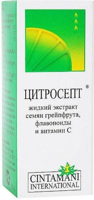 Цитросепт флакон 10 мл14877Цитросепт грейпфрутовый жидкий - биологически активная добавка. Не является лекарством. Цитросепт — биофлавоноиды стандартизированного 33% экстракта семян грейпфрута. Противогрибковое (фунгицидное и фунгистатическое), антибактериальное, противовирусное действие. Сфера применения: ИммунологияИммуномодулирующее
