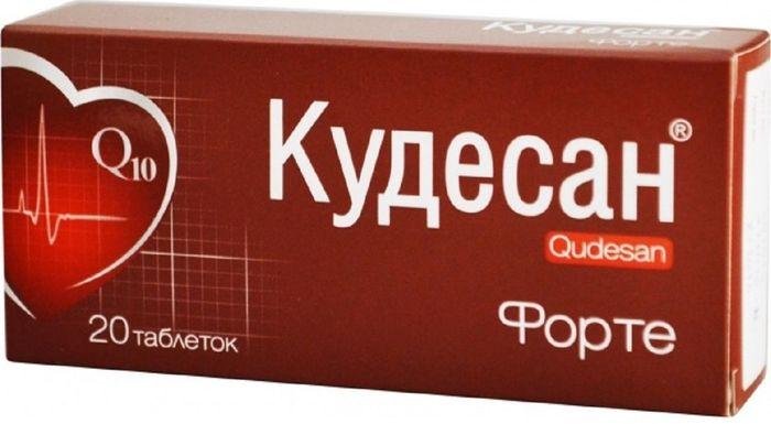 Кудесан Q10 Форте, 20 таблеток203050Основные действующие вещества – коэнзим Q 10 и витамин Е – являются необходимыми компонентами защиты клеточных структур от неблагоприятных воздействий внешней среды. При совместном действии эффективность этих веществ наиболее высока.