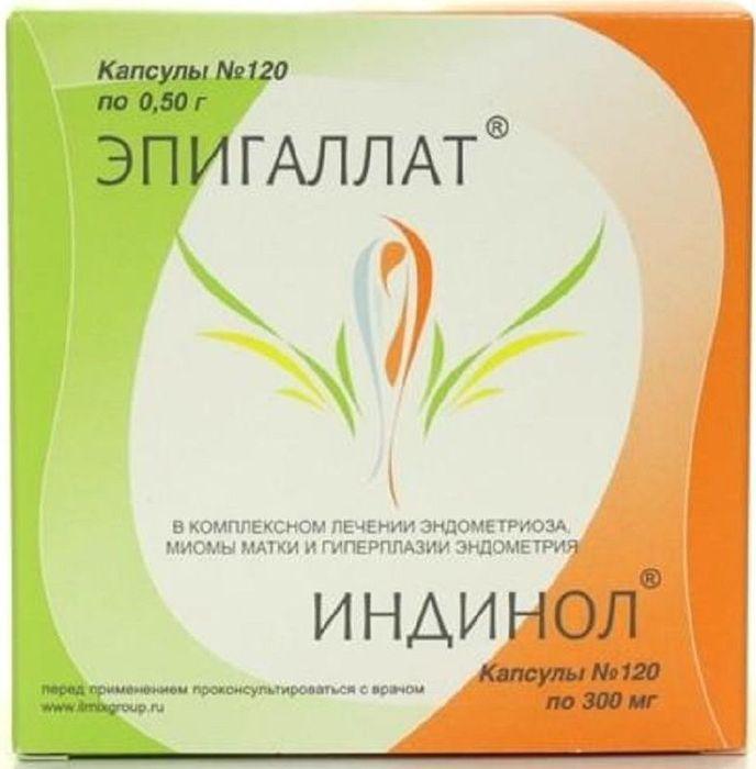 Индинол, 120 капсул + Эпигаллат, 120 капсул208372Индинол - биологически активная добавка к пище, является универсальным гиперпластических корректором патологических процессов в органах и тканях женской репродуктивной системы (молочной железе, эндометрии, миометрии, шейке матки, яичниках). Нормализует баланс эстрогенов в организме и подавляет их негативное стимулирующее влияние, а также блокирует другие (гормон-независимые) механизмы, активирующие патологический клеточный рост в тканях молочной железы и матки. Обладает способностью вызывать избирательную гибель трансформированных клеток с аномально высокой пролиферативной активностью.Активные вещества Эпигаллата обладают множественным этиопатогенетическим действием в отношении гиперпластических процессов репродуктивной системы. Подавляют патологический рост и деление клеток в органах и тканях женской репродуктивной системы, обусловленные негормональными стимулами. Снижают инвазивную активность клеток эндометрия, а также вызывают избирательную гибель (апоптоз) клеток с повышенной пролиферативной активностью. Эпигаллатобладает выраженным антиангиогенным действием (подавляет патологический рост новых сосудов) и т.о. препятствует росту новообразований. Является эффективным противовоспалительным средством, подавляя активность циклооксигеназы второго типа, ПГ и синтез провоспалительных цитокинов, а кроме того, усиливает действие антибиотиков (тетрациклинов, бета-лактамов) и повышает чувствительность резистентных микроорганизмов к действию антибактериальных агентов. Обладает выраженным антиоксидантным действием, нейтрализуя образование свободных радикалов.Товар не является лекарственным средством. Товар не рекомендован для лиц младше 18 лет. Могут быть противопоказания и следует предварительно проконсультироваться со специалистом. Товар сертифицирован.