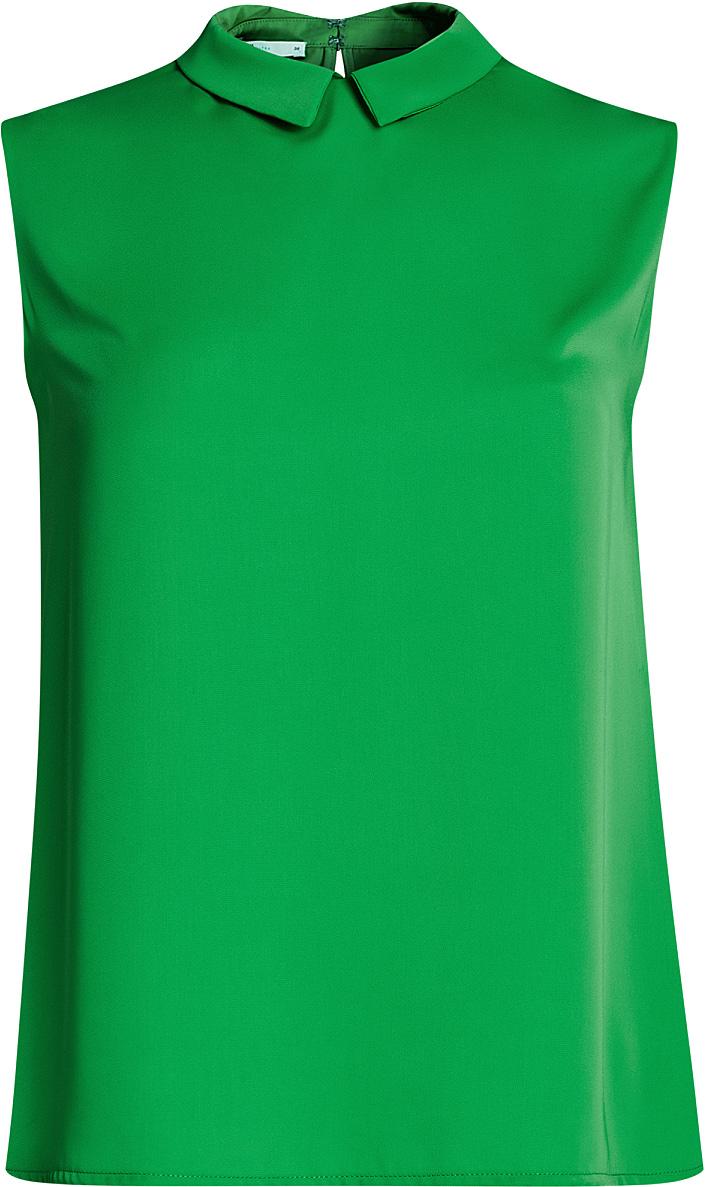 Блузка женская oodji Ultra, цвет: зеленый. 11411084B/43414/6A01N. Размер 34-170 (40-170)11411084B/43414/6A01NМодная женская блузка oodji Ultra изготовлена из высококачественного полиэстера.Модель с отложным воротником и без рукавов застегивается на два металлических крючка, расположенных на спинке. Спинка оформлена декоративным вырезом.