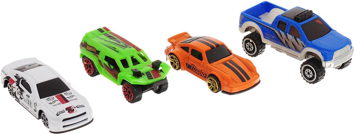 Big Motors Набор супер машинок цвет оранжевый салатовый синий 4 шт игровой набор big big дорожные знаки для детей 6 шт 69 см