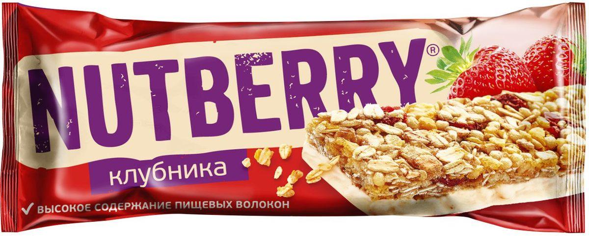 Nutberry глазированный батончик из сухофруктов мюсли клубничный, 30 г мучная смесь кексики цветняшки
