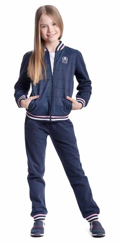 Спортивный костюм для девочки Scool, цвет: темно-синий. 374511. Размер 152, 12 лет374511Утепленный спортивный костюм для девочки Scool выполнен из хлопка с добавлением полиэстера. Изнаночная сторона с мягким начесом. Комплект из толстовки и брюк подойдет для занятий спортом и прогулок. На толстовке предусмотрены вставки из ткани с водоотталкивающей пропиткой.Толстовка с круглым вырезом горловины и длинными рукавами застегивается на молнию. Вырез горловины и низ изделия дополнены трикотажными резинками. На рукавах имеются манжеты. Спереди расположены два втачных кармана. Толстовка украшена нашивкой.Брюки на удобной широкой резинке дополнительно снабжены регулируемым шнурком-кулиской. По низу брюк предусмотрены мягкие резинки.
