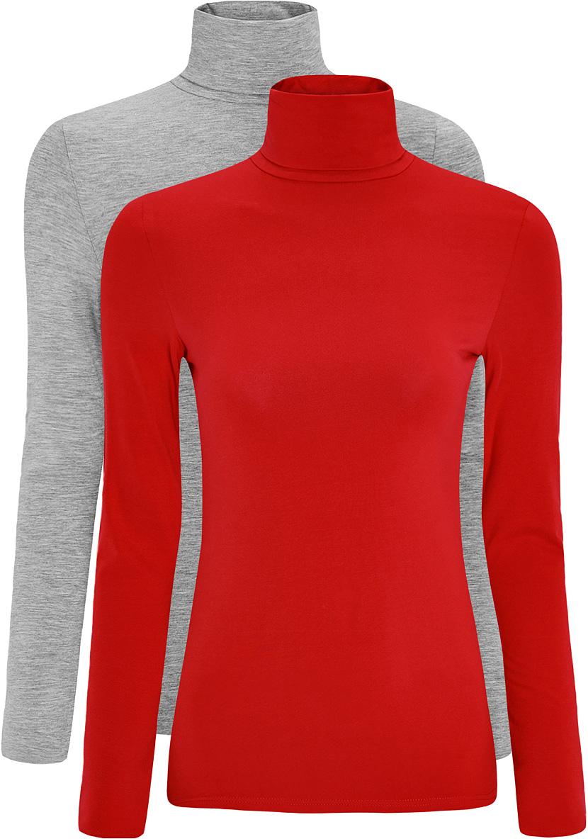 Водолазка женская oodji Ultra, цвет: красный, светло-серый, 2 шт. 15E02001T2/46147/4520N. Размер XXS (40)15E02001T2/46147/4520NБазовая женская водолазка oodji Ultra выполнена из эластичной хлопковой ткани. У модели воротник-гольф и стандартные длинные рукава. В набор входит две водолазки.