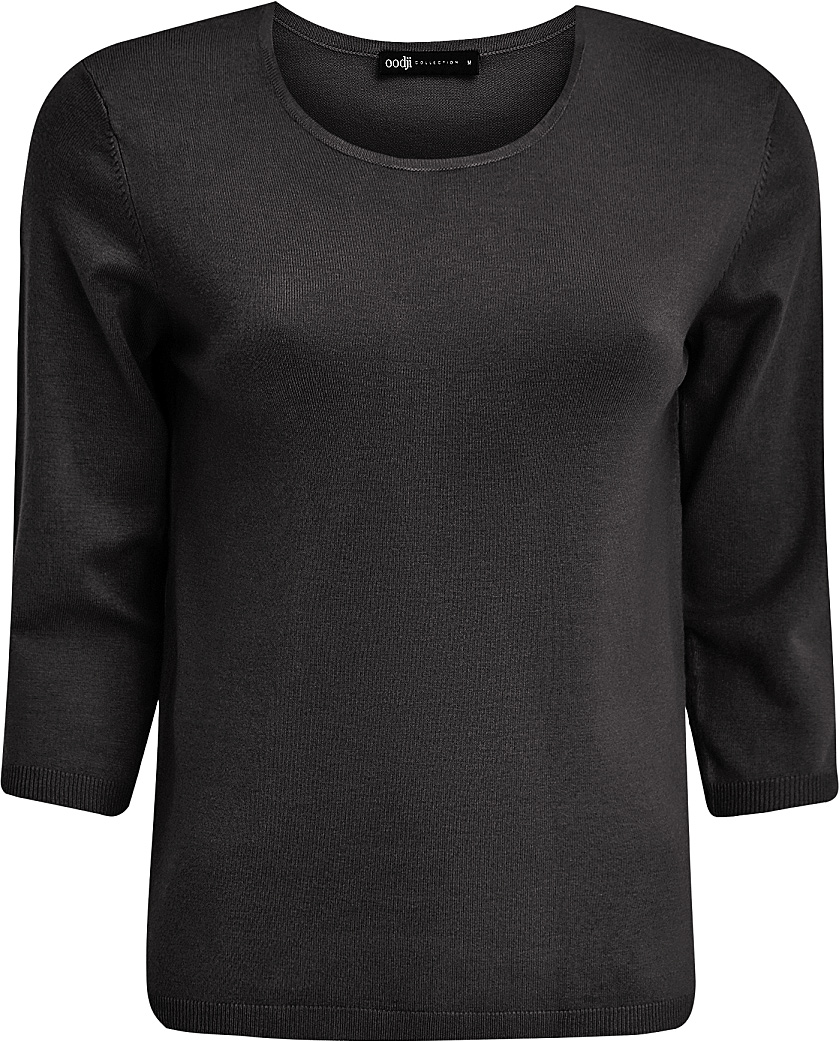 Джемпер женский oodji Collection, цвет: черный. 73812587/42179/2900N. Размер L (48)73812587/42179/2900NУютный женский джемпер с круглым вырезом горловины и рукавами 3/4 выполнен из вискозного материала.