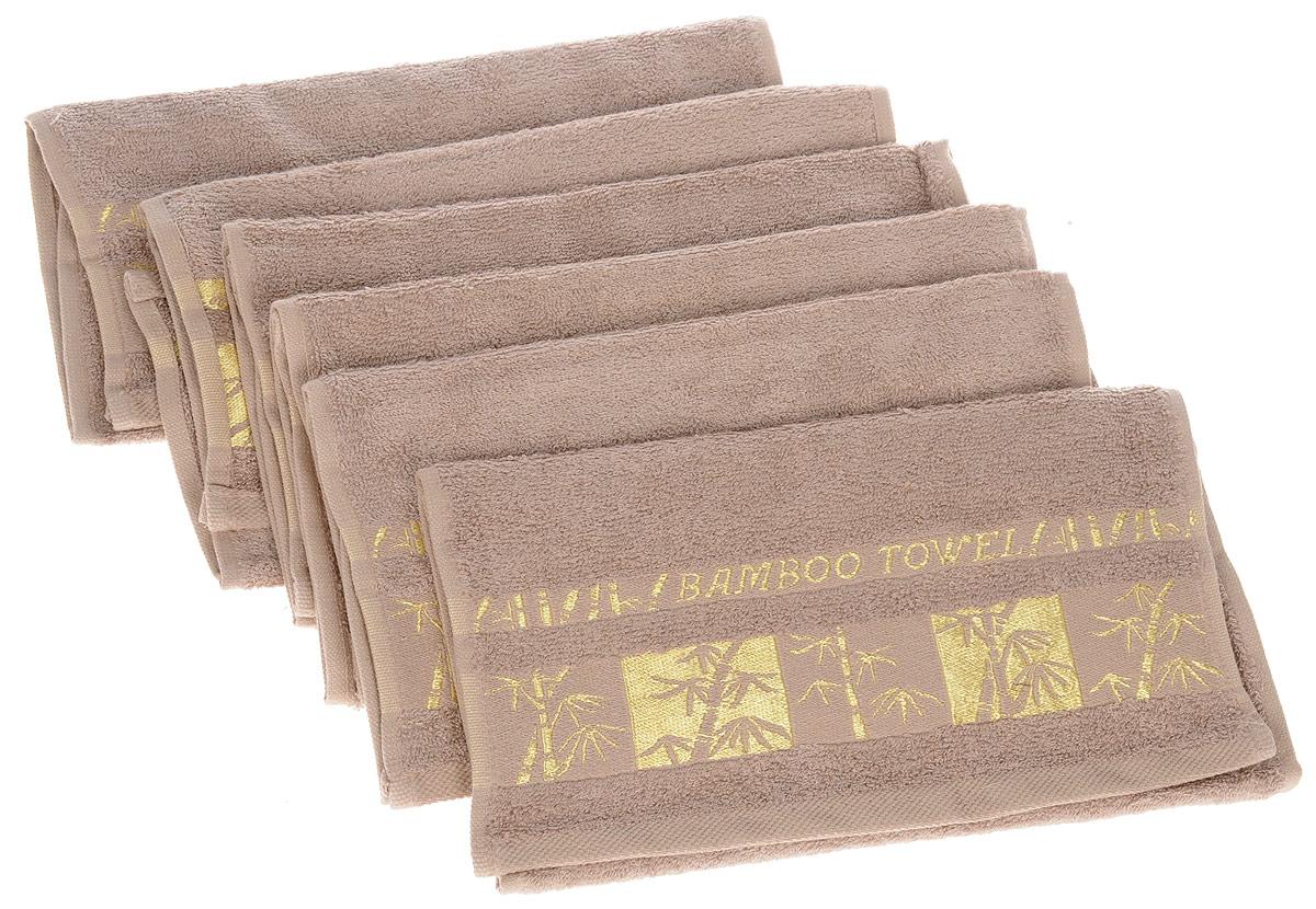 цена на Набор полотенец Brielle Bamboo Gold, цвет: мокко, 30 х 50 см, 6 шт