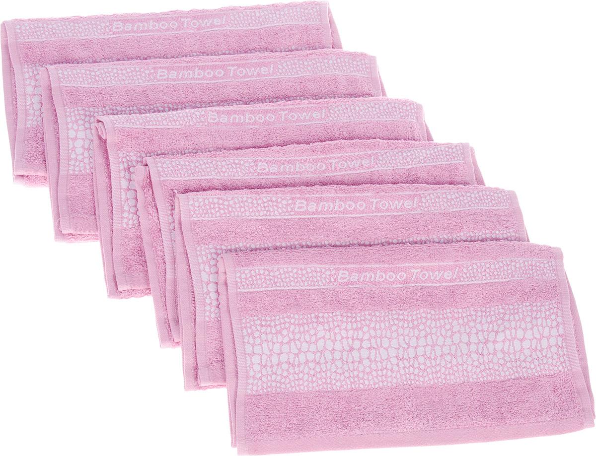 Набор полотенец Brielle Bamboo. Crocodile, цвет: розовый, 30 х 50 см, 6 шт1211Набор Brielle Bamboo. Crocodile состоит из шести полотенец, выполненных из бамбука ссодержанием хлопка.Изделия очень мягкие, они отлично впитывают влагу, быстро сохнут, сохраняют яркость цвета ине теряют формы даже после многократных стирок. Одна из боковых сторон оформлена принтомпод крокодила и надписью.Полотенца Brielle Bamboo. Crocodile очень практичны и неприхотливы в уходе.Такой набор послужит приятным подарком.