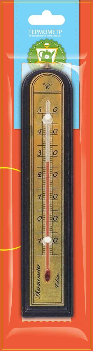 Термометр комнатный Garden Show, цвет: красное дерево, 5 х 26,2 см466110Термометр комнатный Garden Show предназначен для измерения температуры воздуха в помещении. Термометр выполнен из дерева, снабжен металлической шкалой и стеклянной колбой. Изделие имеет широкий рабочий диапазон температур - от -10 до +50°С со шкалой деления в 10°С. Цена деления составляет 1°С. Изделие снабжено специальным отверстием для крепления. Не содержит ртути. Рекомендуется устанавливать термометр в любом удобном для вас месте на уровне глаз, вдали от отопительных приборов, прямых солнечных лучей, кондиционеров и сквозняков, вблизи того места, где требуется выяснить температуру окружающего воздуха.
