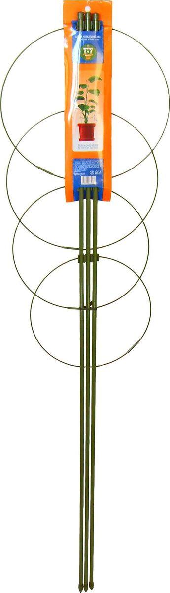 """Опора для растений с 4 кольцами """"Garden Show"""" выполнена из металла и защищена пластиковой оплеткой, которая предотвращает появление коррозии. Такая опора используется для поддержки садовых и комнатных растений. Также незаменима при создании сложных декоративных конструкций на балконах, террасах и дачных участках. Легко и без усилий устанавливается в грунт и надежно закрепляется.  Изделие можно использовать круглый год, оно не выгорает на солнце, не деформируется от мороза и сохраняет неизменный внешний вид даже после долгой эксплуатации."""