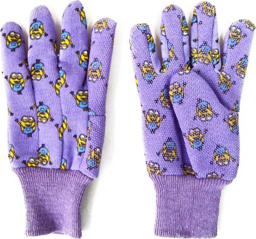 Перчатки садовые Garden Show Миньоны, трикотажные, с манжетой и точками. Размер S (8) garden show